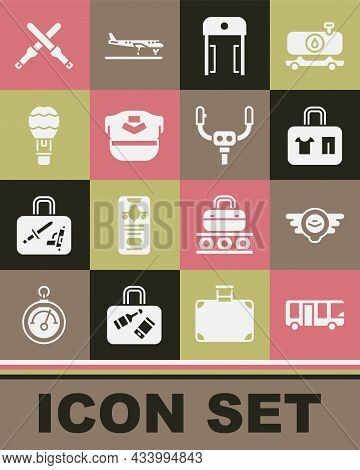 Set Airport Bus, Aviation Emblem, Suitcase, Metal Detector In Airport, Pilot Hat, Hot Balloon, Marsh