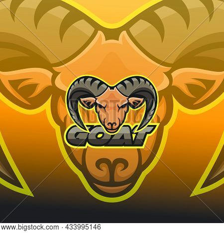Head Goat Mascot Logo Design Modern Gaming Emblems Icon Angry Strong Horn