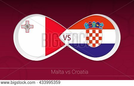 Malta Vs Croatia In Football Competition, Group H. Versus Icon On Football Background. Vector Illust