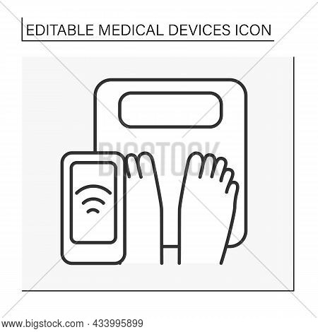 Appliance Line Icon. Body Weight On A Smart Scale. Diet. Control Weight By Device. Healthcare. Recor