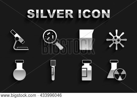 Set Test Tube And Flask, Bacteria, Radiation, Laboratory Glassware Or Beaker, Microscope And Microor