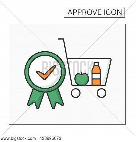 Approve Cart Color Icon. Online, Offline Shopping. Pending Shopping Cart Requests And Approving Enti