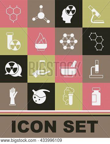 Set Test Tube And Flask, Microscope, Chemical Formula, Head Radiation Symbol, Alcohol Spirit Burner,