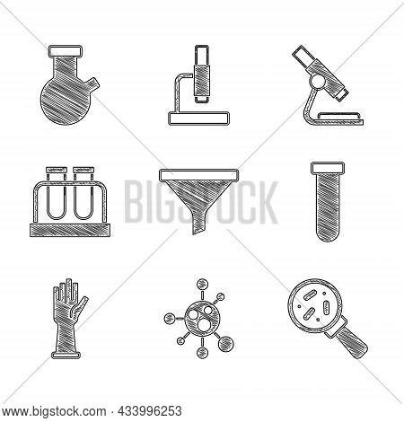 Set Funnel Or Filter, Molecule, Microorganisms Under Magnifier, Test Tube And Flask, Medical Rubber