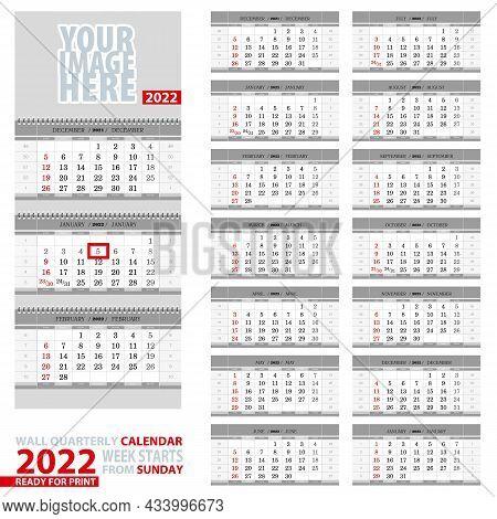 Wall Quarterly Calendar 2022. Week Start From Sunday, Ready For Print. Vector Illustration.