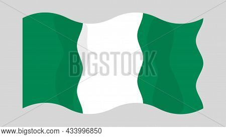 Detailed Flat Vector Illustration Of A Flying Flag Of Nigeria On A Light Background. Correct Aspect