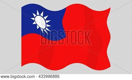 Detailed Flat Vector Illustration Of A Flying Flag Of Taiwan On A Light Background. Correct Aspect R