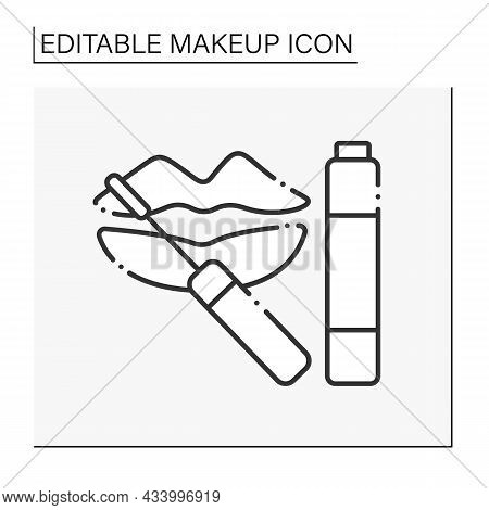 Lip Gloss Line Icon. Special Shining Lipstick. Lip Care.makeup Concept. Isolated Vector Illustration