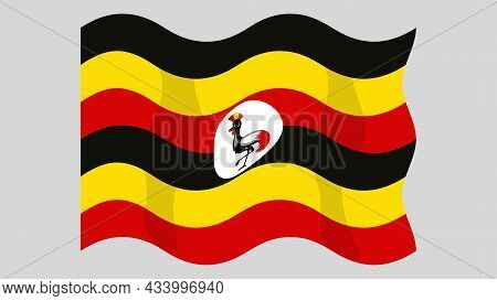 Detailed Flat Vector Illustration Of A Flying Flag Of Uganda On A Light Background. Correct Aspect R