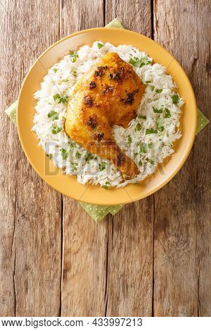 Ayam Percik Coconut Spiced Chicken With Rice Close Up In The Plate On The Table. Vertical Top View F