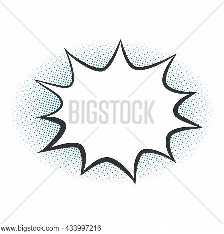 Empty Burst Speech Bubble With Copy Space On Halftone Background, Vector Illustration