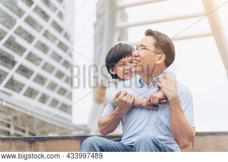 The Son Hugged His Father Fill Happy , Single Dad And Son Small Boy Child Happiness Asian Family Con