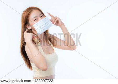 Asian Woman Cute Girl Wearing Protective Face Mask For Protection During The Quarantine Coronavirus