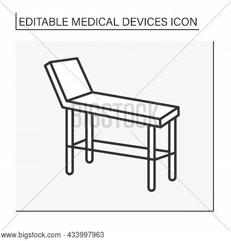 Examination Table Line Icon. Special Device For Examining Patience Health. Treatment. Healthcare. Ho