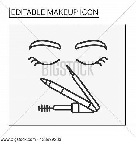 Eye Makeup Line Icon. Eyebrow Pencil For Correct Brow, Mascara For Making Lashes Longer And Volume.