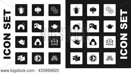 Set Chinese Yuan Currency, China Flag, Fortune Cookie, Tea Ceremony, Paper Lantern, Gong And Icon. V