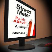 Stress Meter On Laptop Showing Panic Attack Or Mental Crisis poster