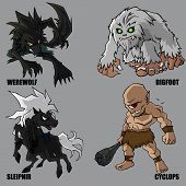4 Graphic vector set of mythical creatures poster