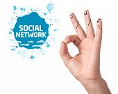 Happy ok fingers with social network sign and icons isolated on white poster