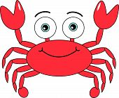 Vector illustration of a cute looking cartoon crab with a happy smiling face. This eps8 file is AI8 compatible. poster