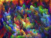 Interplay of colorful fractal turbulence on the subject of fantasy dreams creativity imagination and art poster
