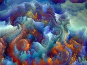 Composition of colorful fractal turbulence with metaphorical relationship to fantasy dreams creativity imagination and art poster