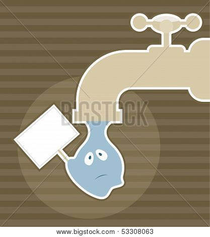 Save water concept - a drop of water falling down poster