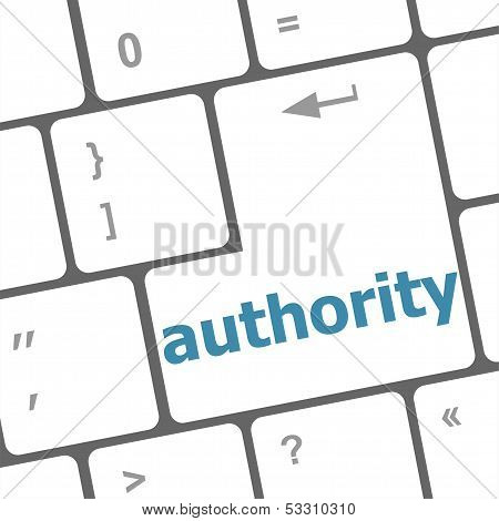 Autority Button On Computer Keyboard Key