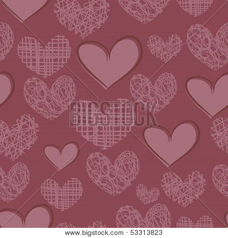 Seamless pattern with embroidery of hearts on a purple background. poster