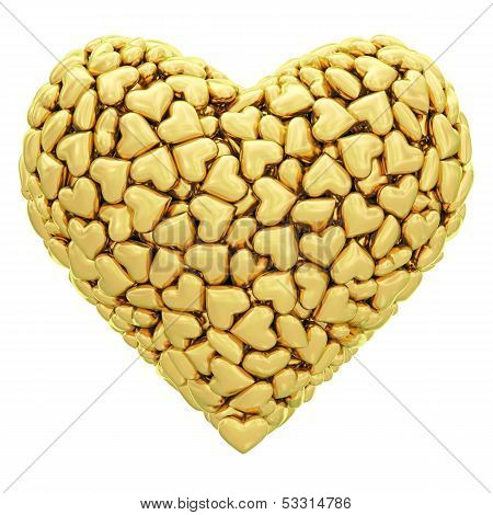 Heart Shape Composed Of Many Golden Hearts Isolated On White