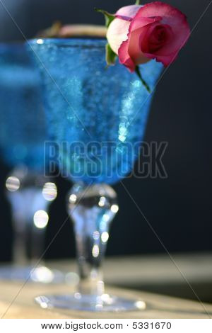 Blue Wine Glasses With Pink Rose