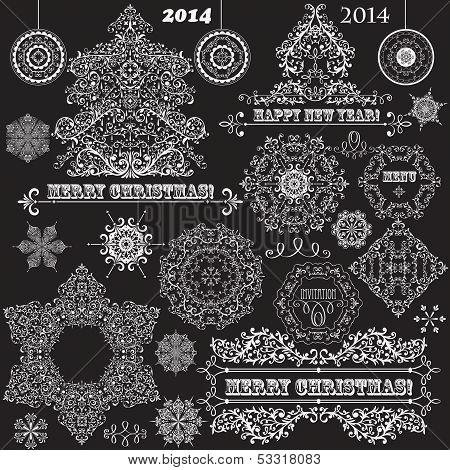 Vector Vintage Christmas Design Elements