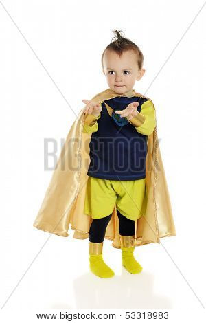 An adorable preschool superhero with his hands held out as if giving or receiving.  On a white background.