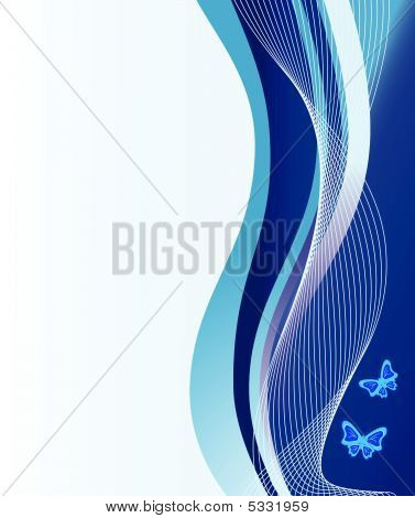 Abstract Blue Background With Waves. Vector Illustration