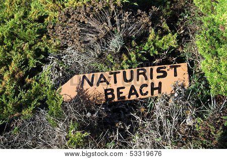 Naturist Beach Sign