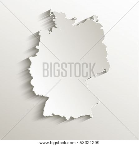 Germany map card paper 3D natural raster