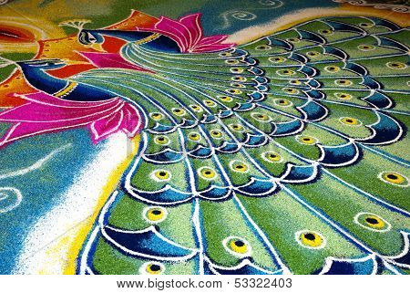 Indian Kolam With Peacock Pattern