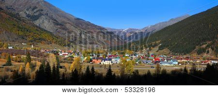 SILVERTON, COLORADO -OCTOBER 5: Historic Silverton city in Colorado USA on October 5, 2013, Is one of the highest towns in the United States, at 9,305 feet above sea level.