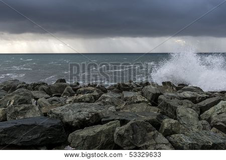 Rainstorm At Nervi (italy)