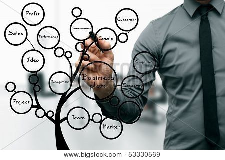 Businessman Drawing Business Plan Tree