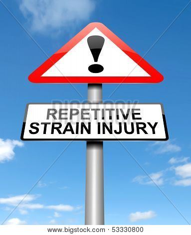 Illustration depicting a sign with a repetitive strain injury concept. poster