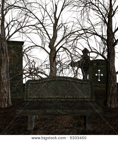 A spooky cemetery on a white background poster