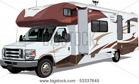 Large C-Class RV camper with expanding sides and truck cab poster