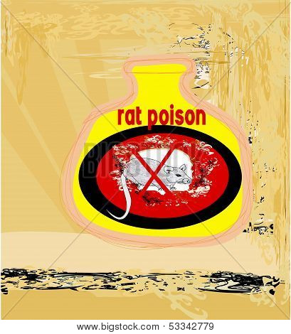 bottle of rat poison abstract card , vector illustration poster