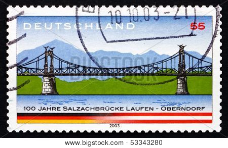 Postage Stamp Germany 2003 Salzach River Bridge
