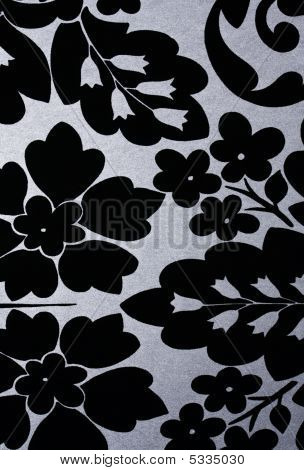 Black Flowers On Silver Metallic