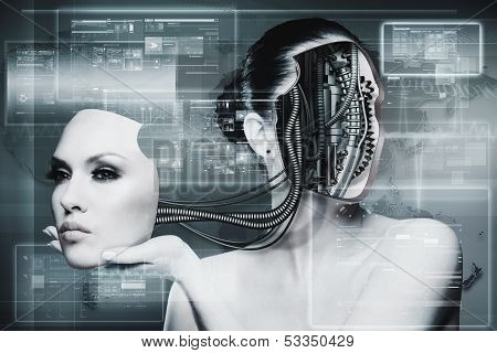 Biomechanical Woman, Abstract Futuristic Backgrounds For Your Design
