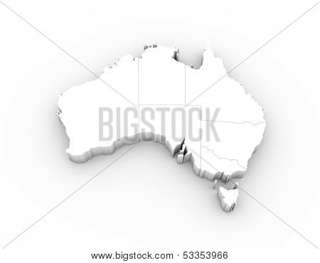 Australia map 3D white with states and clipping path