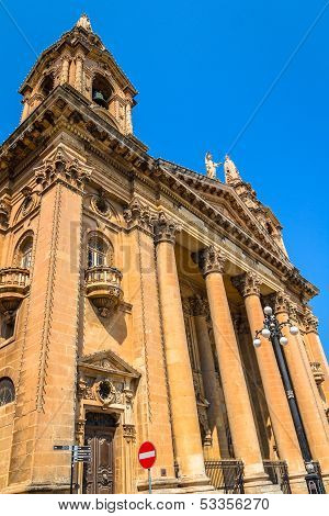 Facade of Saint Publius church in Malta. poster