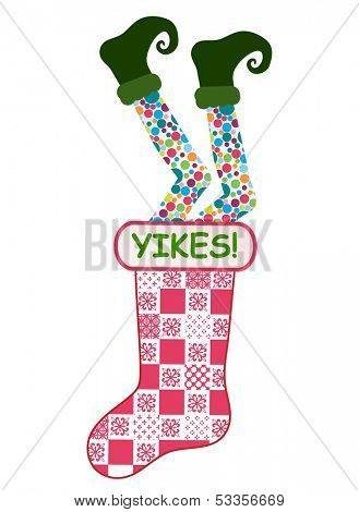 Funny Christmas stocking - elf legs falling into Christmas stocking
